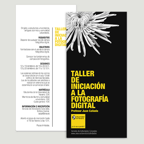 flyer cursos fotografía Universidad