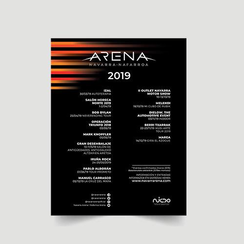 diseño flyer informativo navarra arena